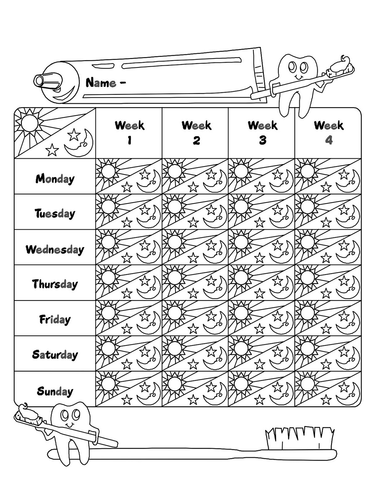 Teeth Brushing Coloring Chart Coloring Pages