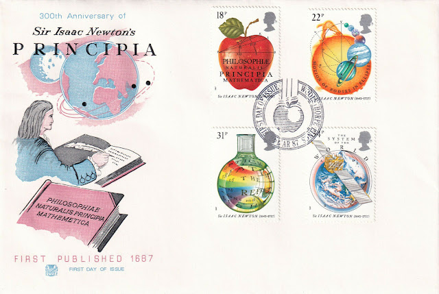 Isaac Newton publishes Philosophiæ Naturalis Principia Mathematica.stamp Great Britain