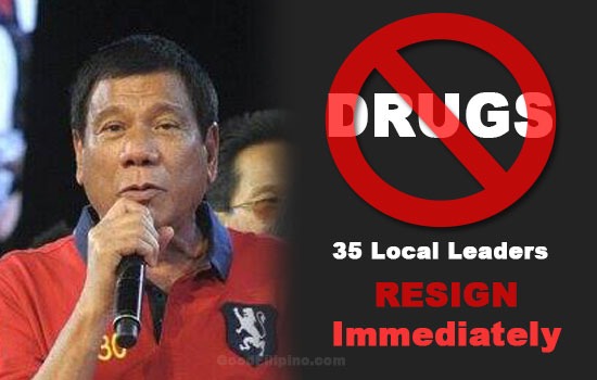 Duterte to 35 local leaders involved in illegal drugs: 'Resign Immediately'