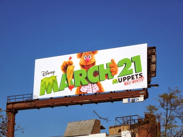 Fozzie Bear Muppets Most Wanted movie billboard