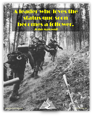 A leader who loves the status quo soon becomes a follower.   -John Maxwell  [Photo credit: Entiat IHC] (hotshot crew hiking up hill)