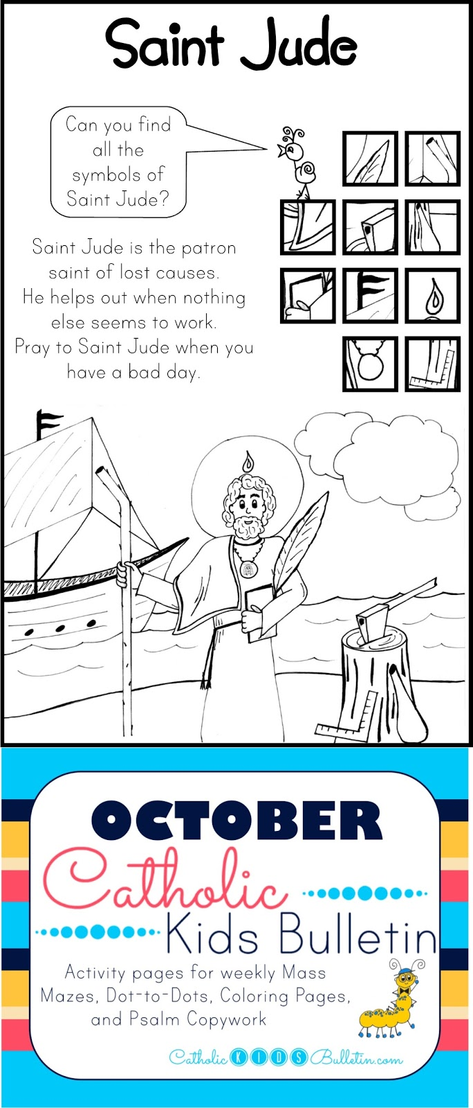 Catholic Kids October Catholic Kids Bulletin St Jude Coloring Page