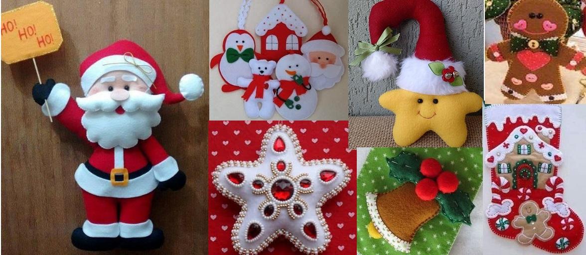 Muitas vezes 100 Enfeites de Natal em Feltro com Moldes - Como Fazer BH35