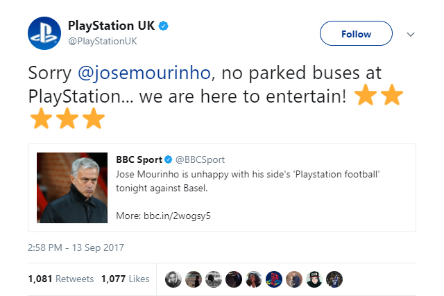 PlayStation UK troll José Mourinho's defensive tactics over the years