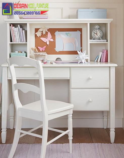 Set meja belajar anak minimalis multifungsi warna putih mewah