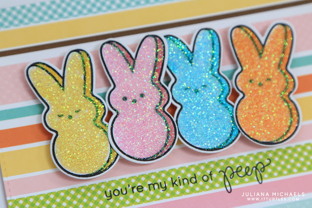 Peep Bunny Easter Card with stamping and glitter by Juliana Michaels featuring Simon Says Stamp March 2016 Card Kit