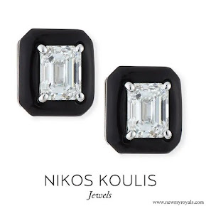 Meghan Markle wore Nikos Koulis 18k Oui Diamond & Black Enamel Octagonal Stud Earrings