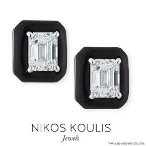 Meghan Markle wore Nikos Koulis 18k Oui Diamond & Black Enamel Octagonal Stud Earrings