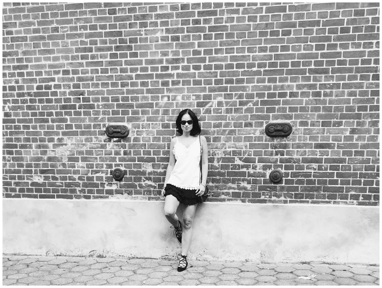 BLACK & WHITE | June Gold wearing white H&M lace top amd black H&M lace up ballerinas