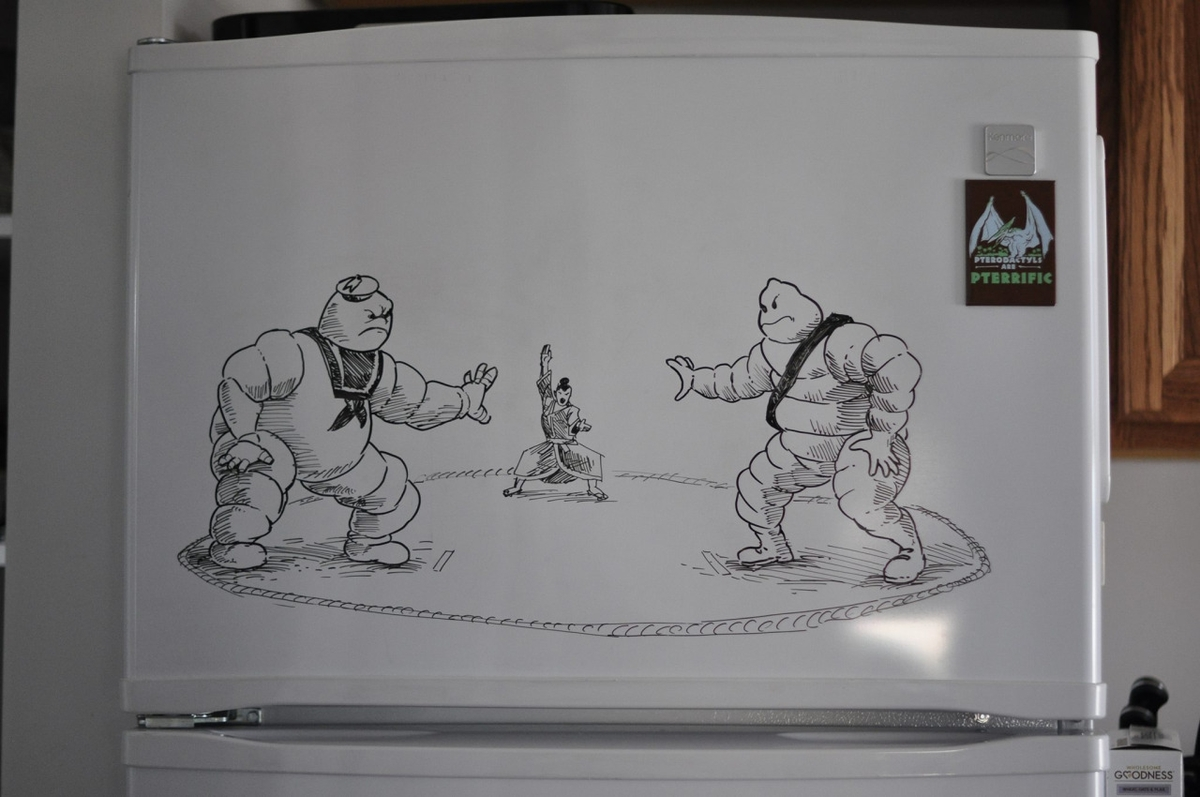 19-The-Michelin-Sumo-Wrestlers-Charlie-Layton-Freezer-Door-Drawings-and-Illustrations-www-designstack-co