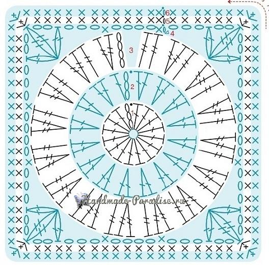 Мотив №3. Квадраты из бежевой и зеленой пряжи (листья кувшинки)