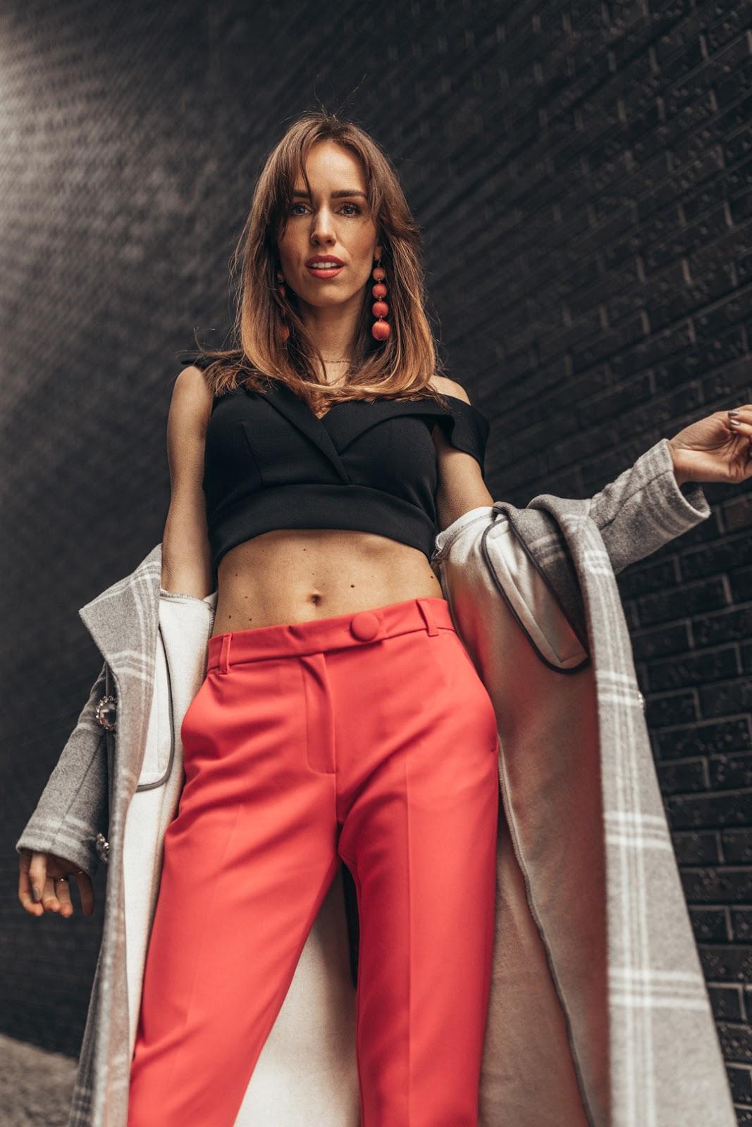 pink cigarette pants black bralette spring outfit