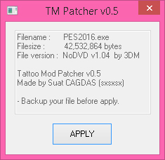 PES 2016 tattoo mod Patcher v0.5 by sxsxsx