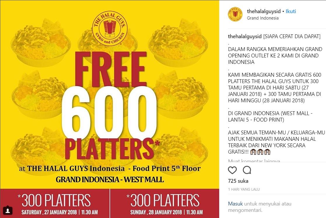 Makan Gratis Di The Halal Guys Indonesia