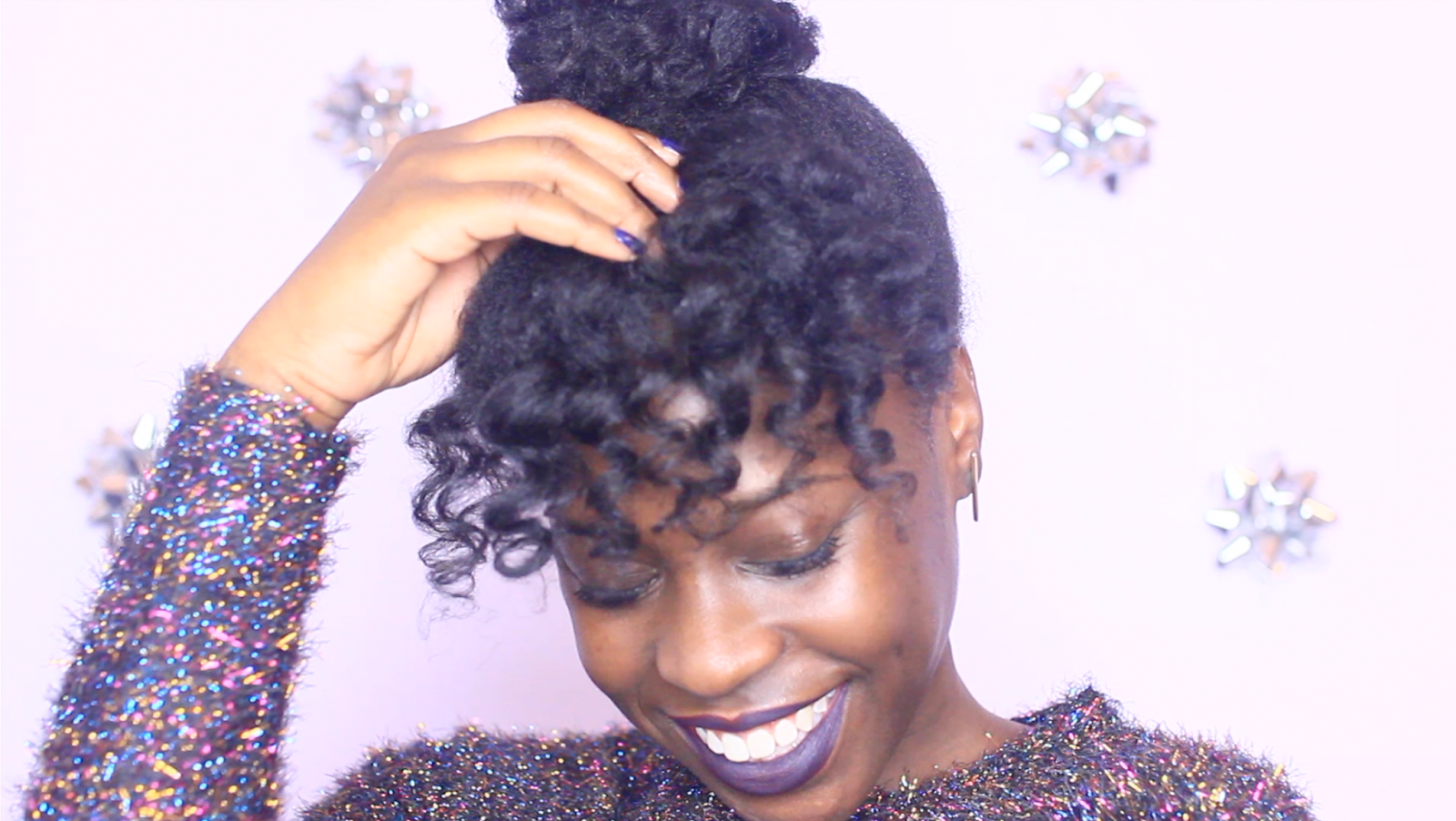 Curly Bangs And Bun On Natural Hair