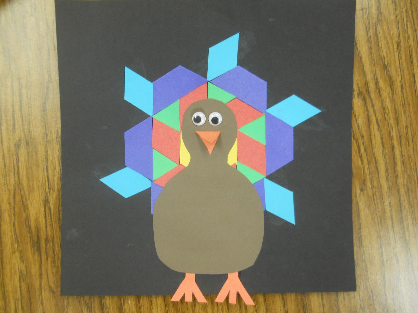 Mrs T S First Grade Class Pattern Block Turkeys