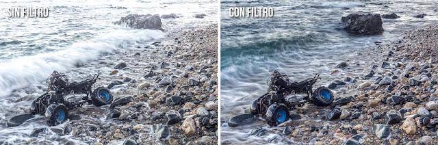Comparativa de la diferencia con filtro y sin filtro