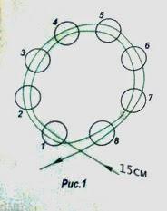 Украшение браслет из бусин и жемчуга. Схема