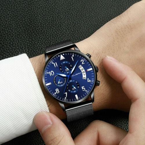 Men Stainless Steel Luxury Military Analog Sport Date Quartz Mens Wrist Watch