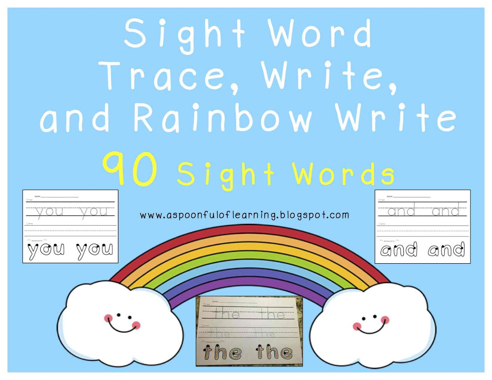 A Spoonful Of Learning Sight Words Trace Write Rainbow Write