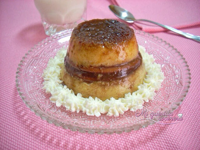 Flan con chocolate y galletas
