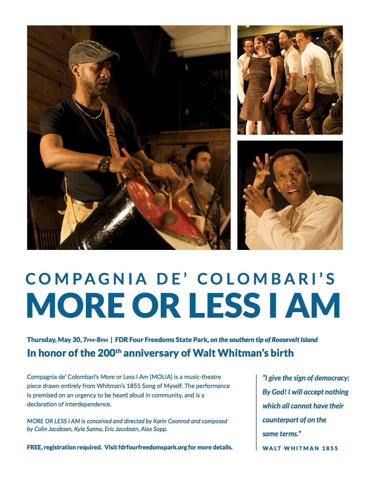 FDR 4 Freedoms Park Presents More Or Less I Am - 7 PM Thursday May 30