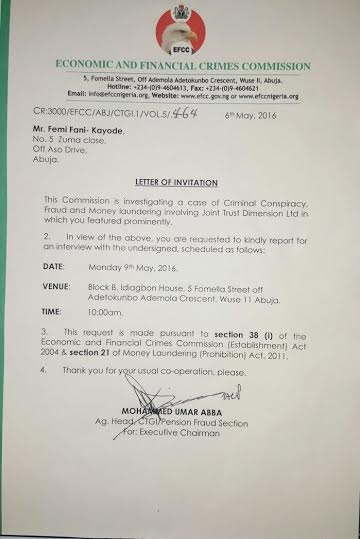the letter of invite the efcc sent to femo fani kayode