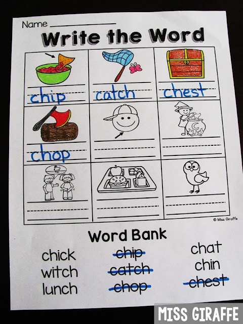 CH worksheets and so many fun digraphs activities for first grade or kindergarten