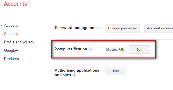 2 Step verification option In Google Account setting> Security