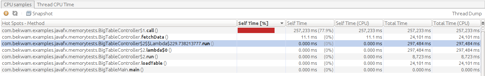 Bekwam Blog: JavaFX TableView Scroll Time With PropertyValueFactory