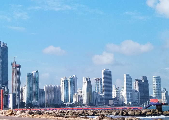 skyline of white buildings in Cartagena Colombia