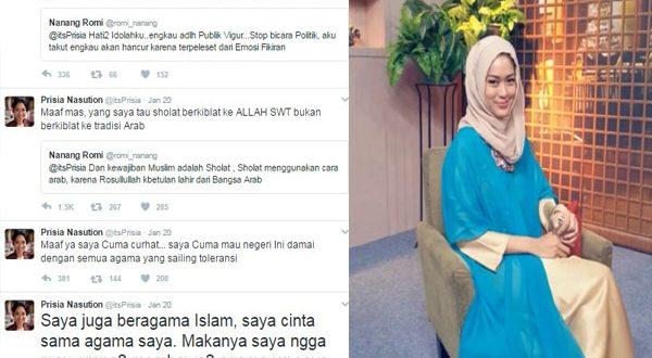 Tak Ingin Berbuntut Panjang, Prisia Nasution Meminta Maaf Atas Cuitannya
