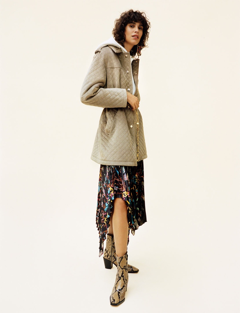 Zara Quilted Velvet Parka, Pleated Asymmetrical Skirt and Leather Heeled Ankle Boots