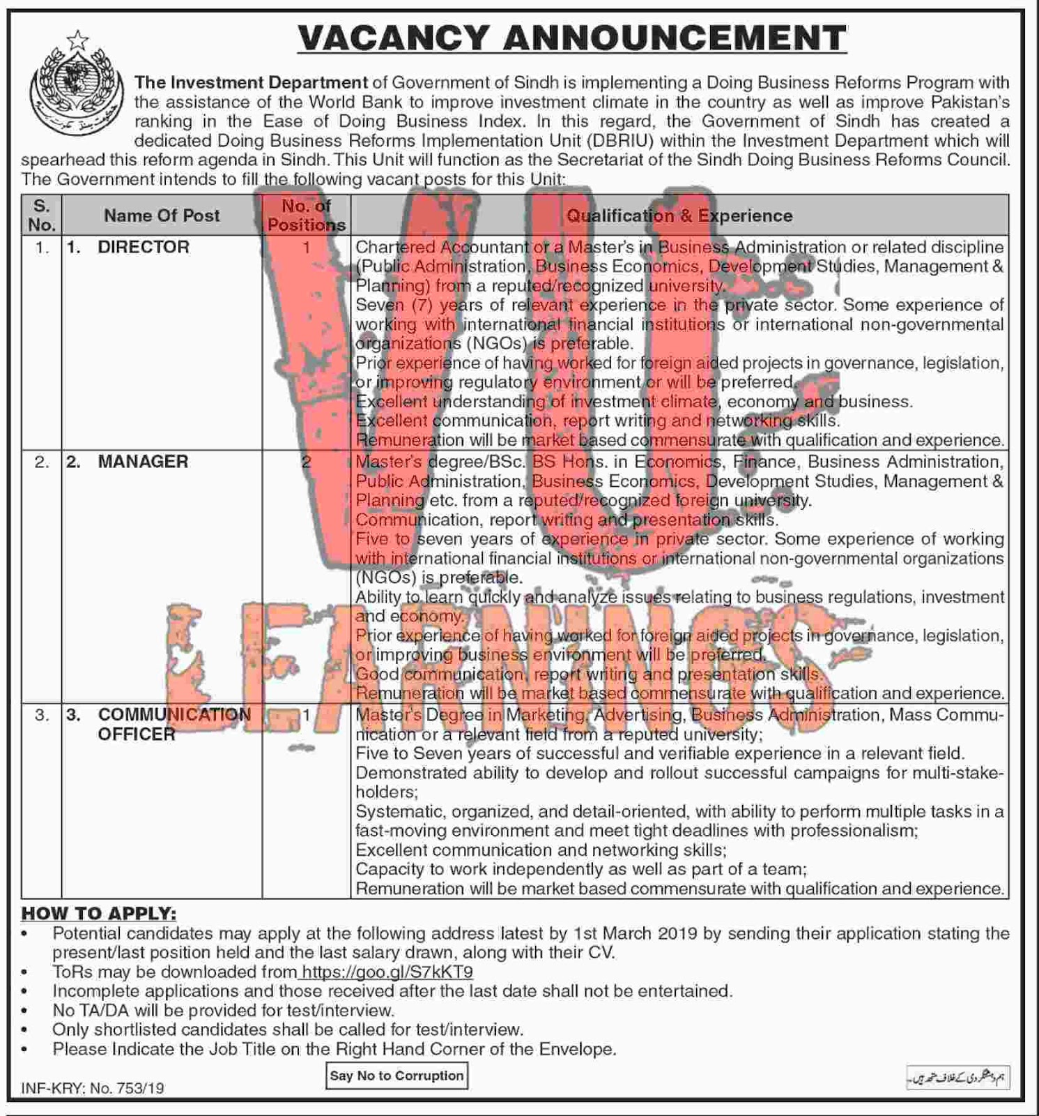 Job in the investment Department of govt of sindh