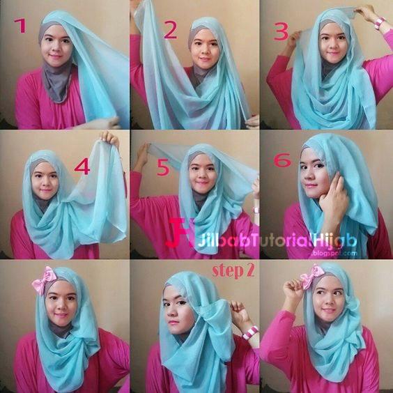 Kumpulan Gambar Tutorial Cara Memakai Hijab 1  Jilbab