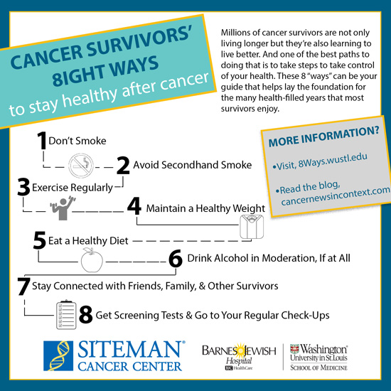 https://siteman.wustl.edu/prevention/take-proactive-control/8-ways-to-stay-healthy-after-cancer/