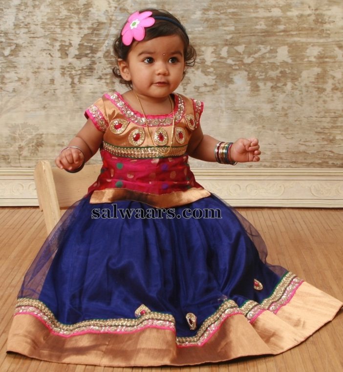 Cutie In Blue Netted Kids Lehenga Indian Dresses