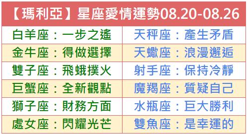 【Marie-DeSimone瑪利亞】一週星座愛情運勢2018.08.20-08.26