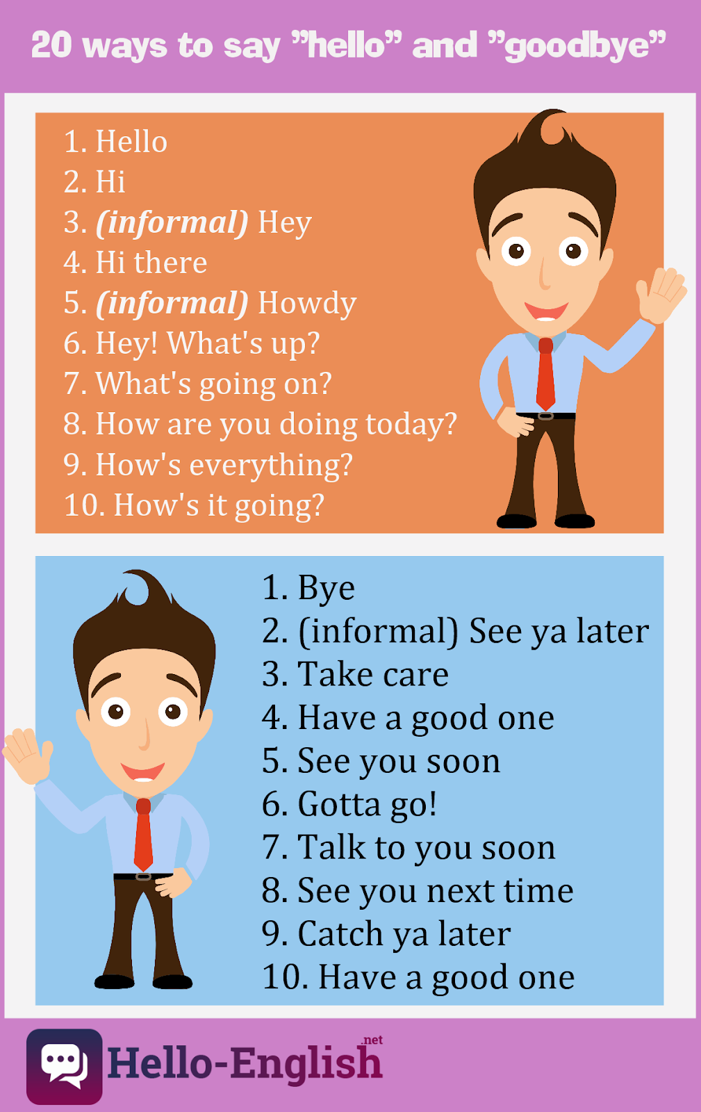 "20 ways to say ""hello"" and ""goodbye"" in English"