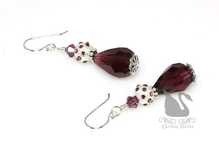 February Birthstone: Amethyst Stardust Crystal Drop Earrings (EBC101)
