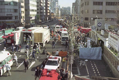 The aftermath of the 1995 attack on the Tokyo subway system.