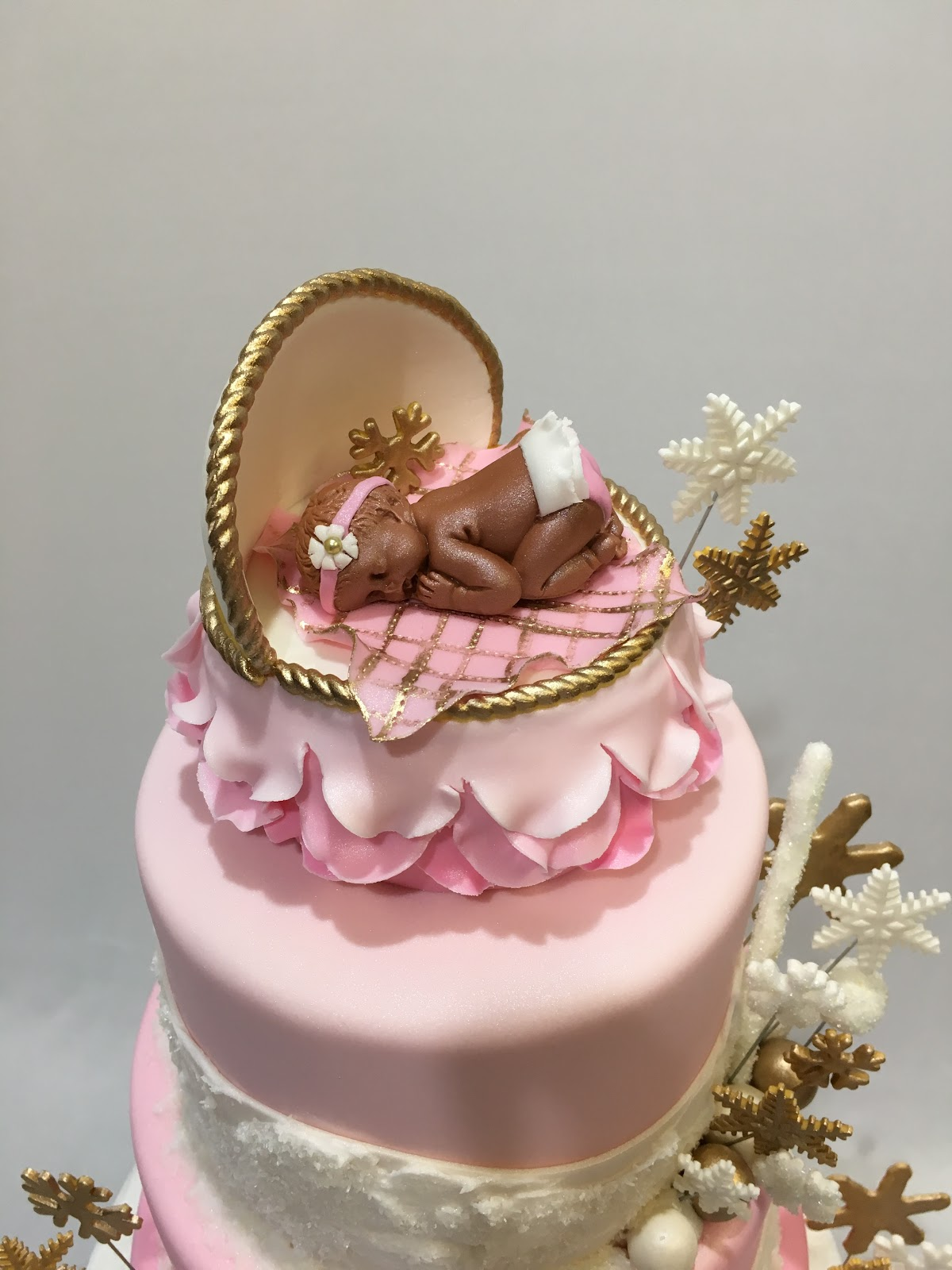 MyMoniCakes: Pink and white Winter Wonderland baby shower cake