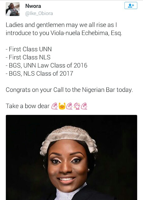 Photos: Meet Viola-nuela Echebima, First Class graduate of UNN who bagged First Class at The Nigerian Law School