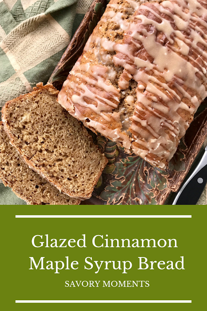 Sliced loaf of finished glazed cinnamon maple syrupbread.