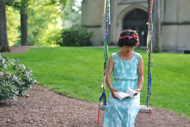 flower crown, floral maxi, swing