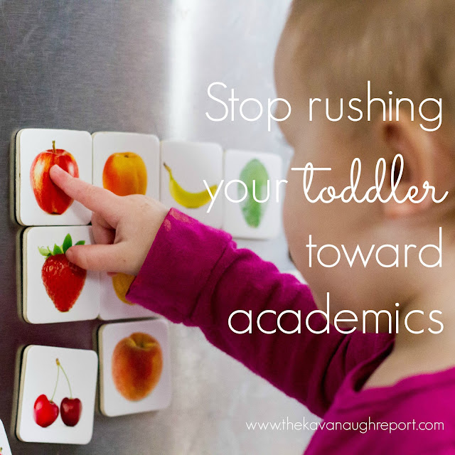 In our fast paced world, toddler's are being forced to learn new academic concepts faster and faster. Instead of pushing toddlers, this Montessori answer is to slow down, stop rushing toddlers and let them be little.