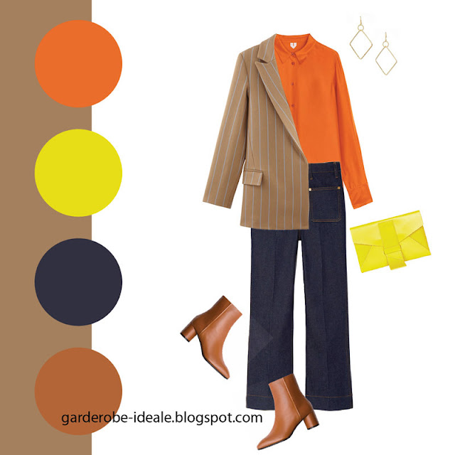 Брюки карго с оранжевой рубашкой и жакетом кэмел