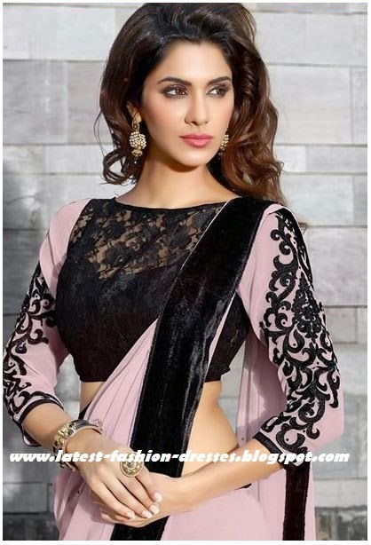 pink black border saree with full sleeve lace blouse