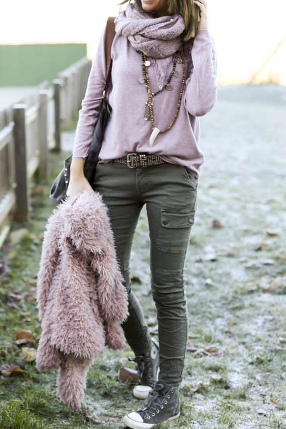military green and pink, casual style look