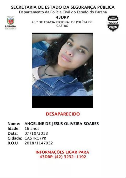 Família procura adolescente desaparecida em Castro